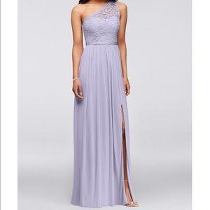 David's Bridal One Shoulder Dress